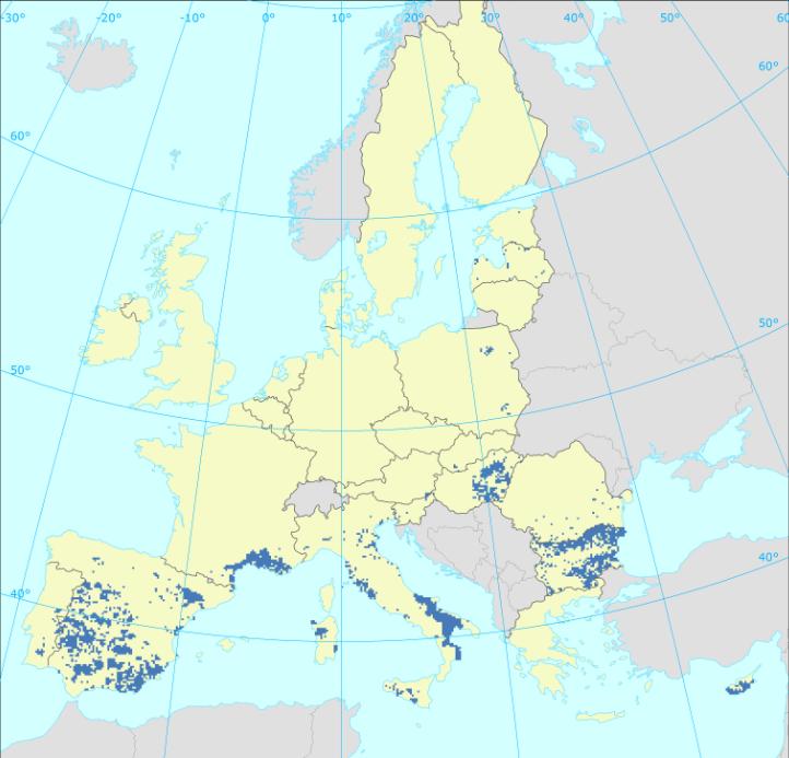 Zaļo vārnu izplatības karte 2008 - 2012
